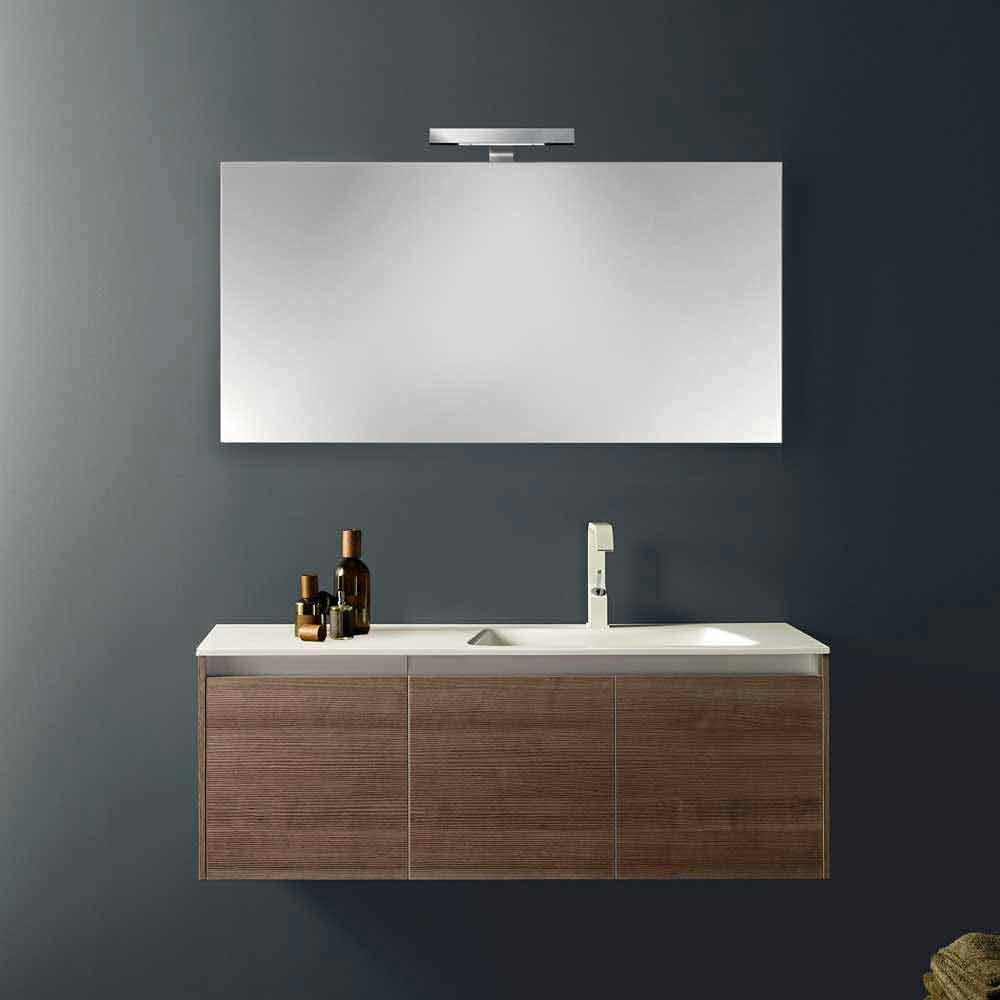 Composizione arredo bagno sospesa dal design moderno iquba 1 noce americano - Viadurini bagno ...