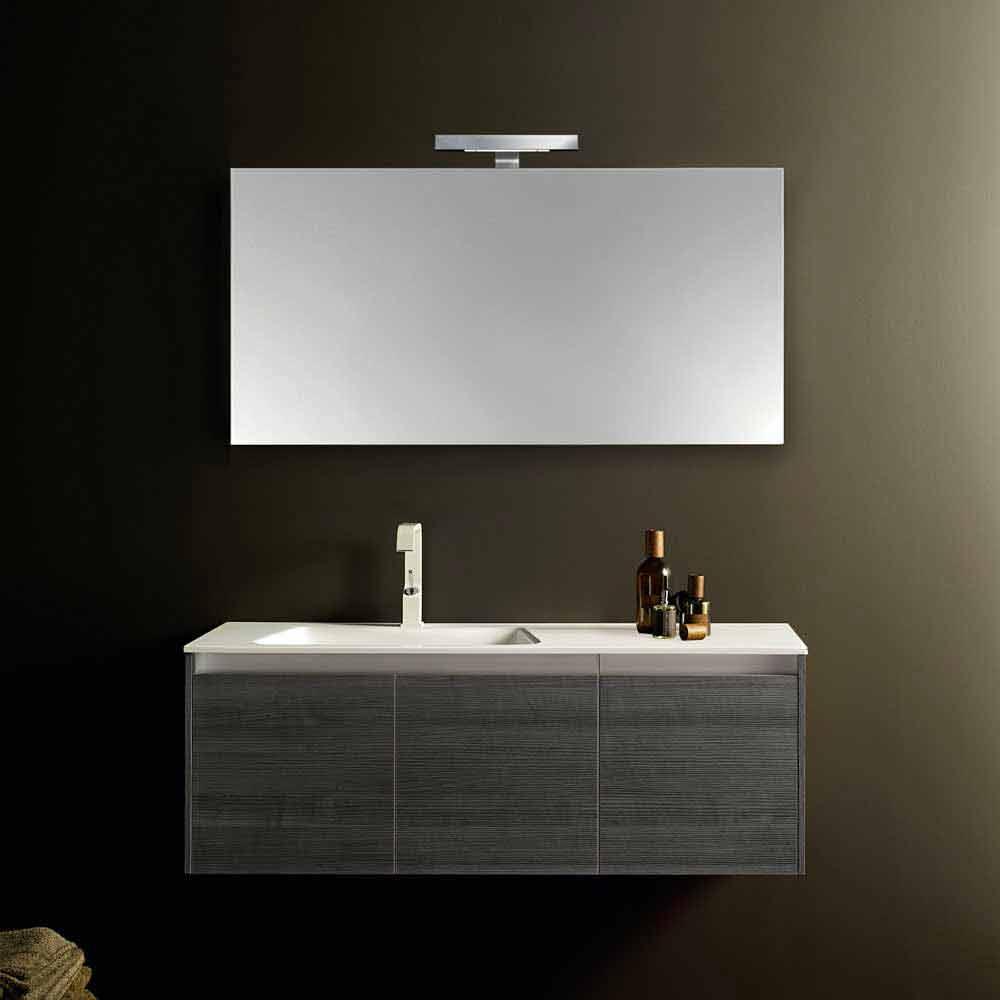 Composizione mobili bagno sospesi iquba 2 rovere grigio design moderno - Mobili rovere grigio ...