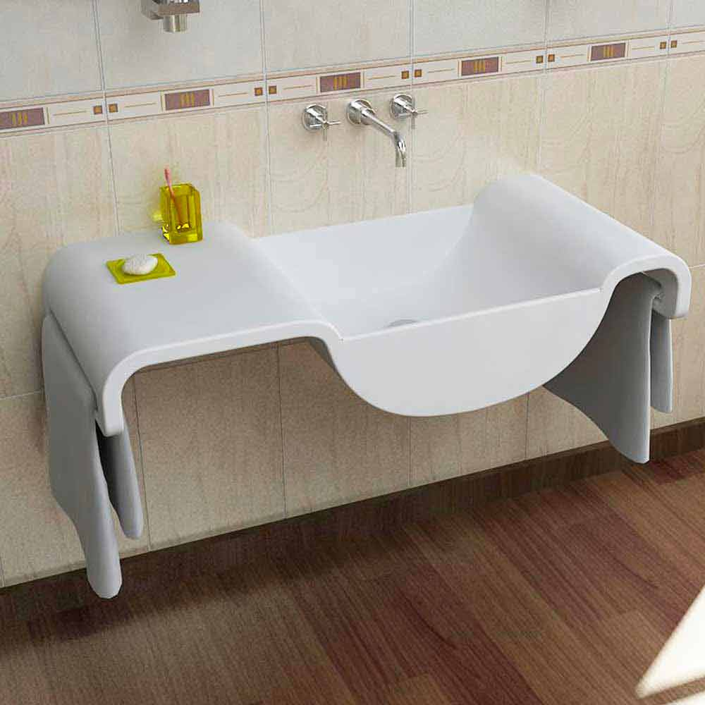 Lavabo sospeso design moderno bianco onda made in italy for Accessori lavandino bagno