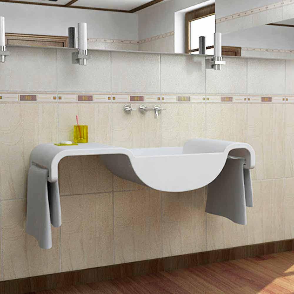 Lavabo sospeso design moderno bianco onda made in italy - Lavandino bagno moderno ...