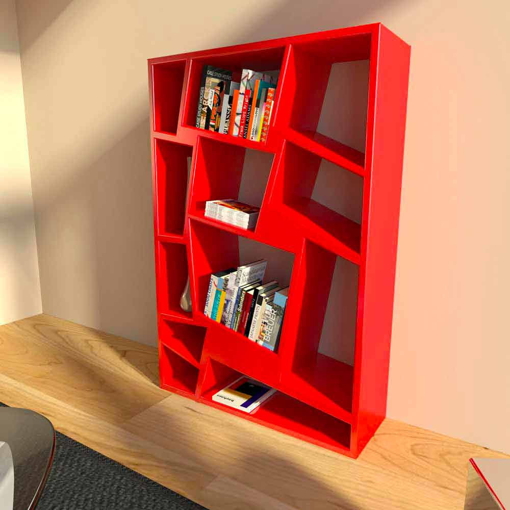 Libreria moderna di design verde rossa o bianca christie for Libreria design