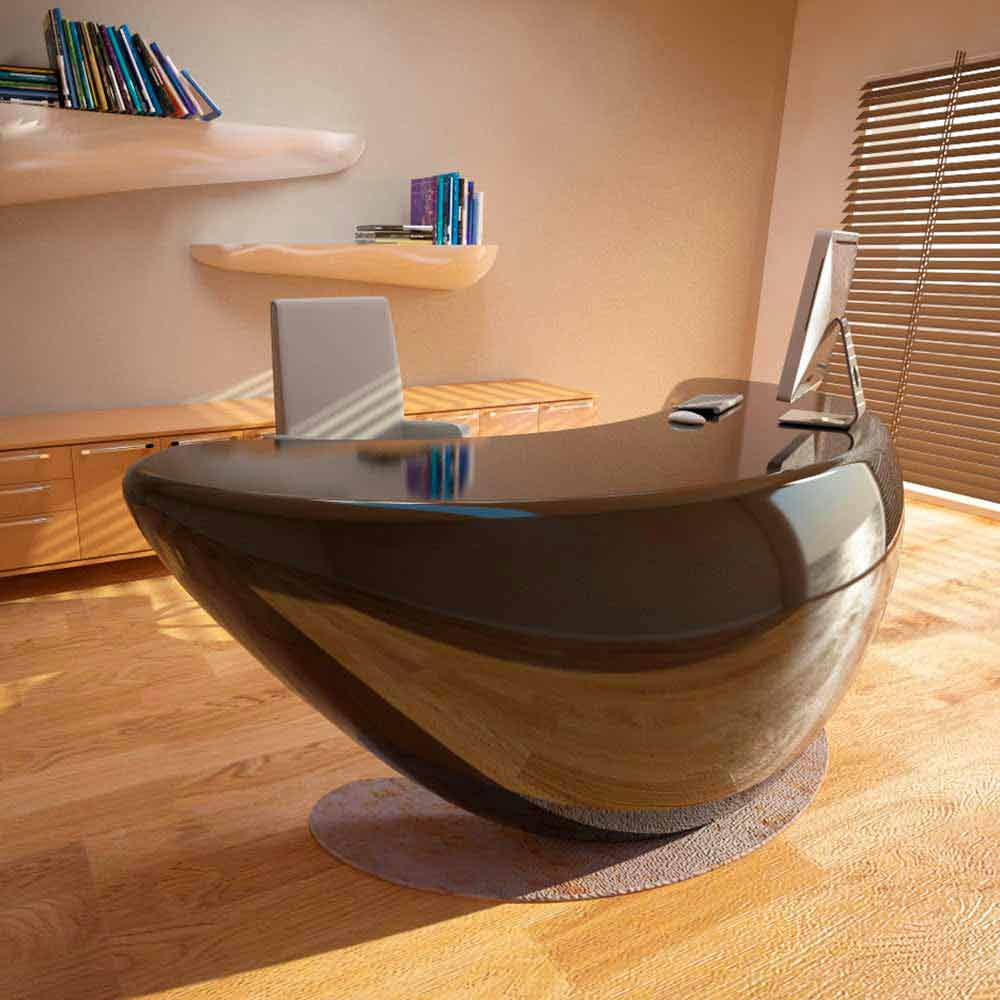 Scrivania design moderno da ufficio boomerang made in italy - Scrivania design moderno ...
