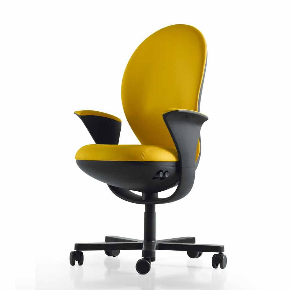 Poltrona ufficio direzionale di design Bea Luxy, scocca grigia
