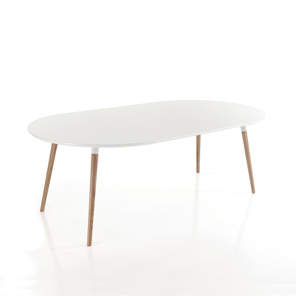 Tavolo allungabile in legno piano bianco opaco ian for Tavolo in legno bianco