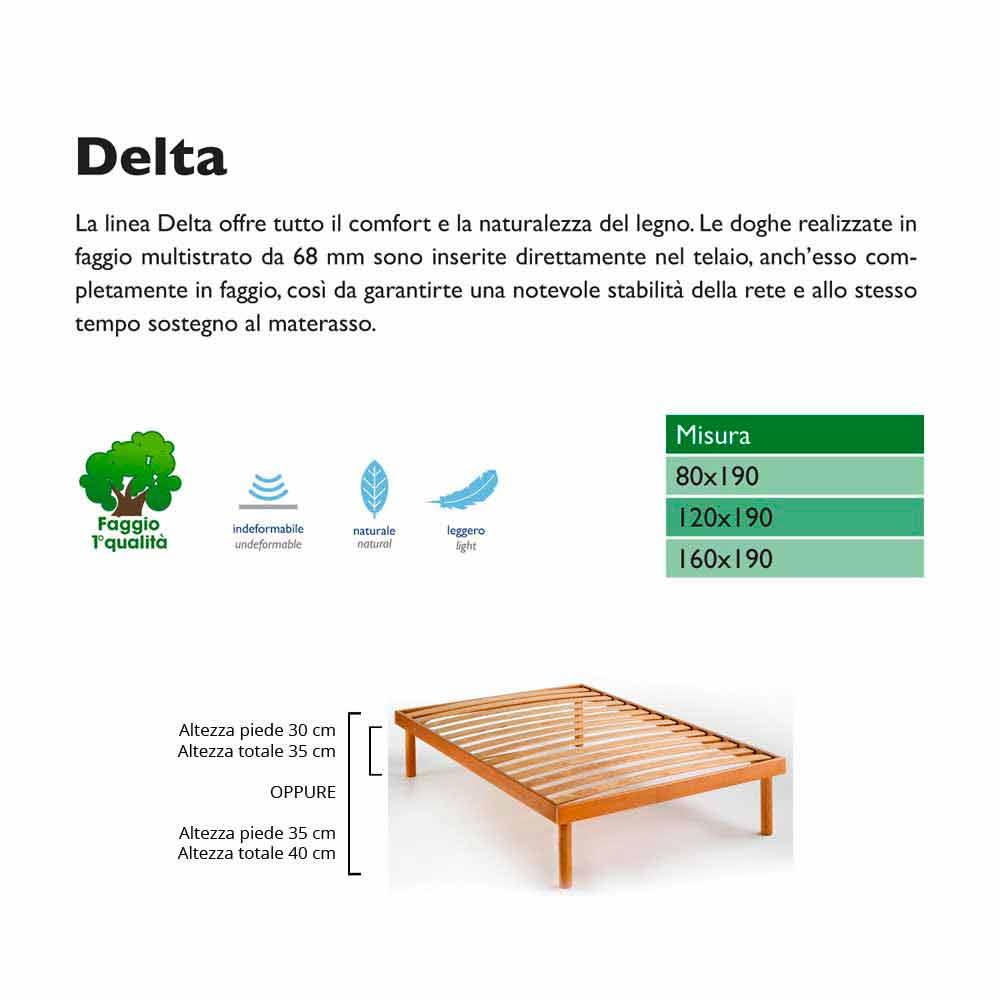 Rete piazza e mezzo interamente in legno di faggio Bio Delta,120x190cm