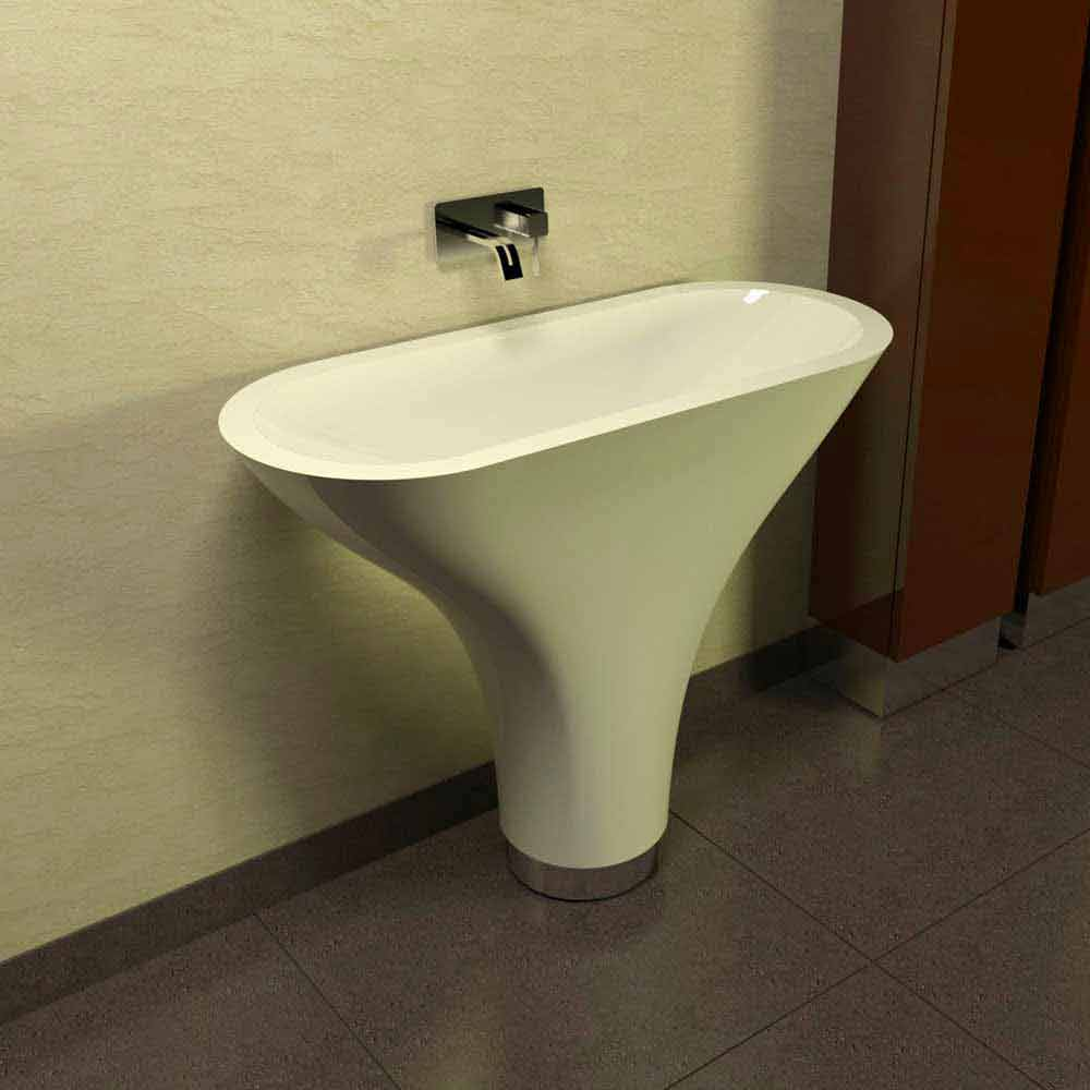 Lavabo a colonna design moderno Flounder made in Italy