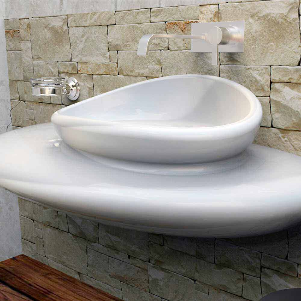 Lavabo sospeso dal design moderno stone fatto in italia for Lavabo design