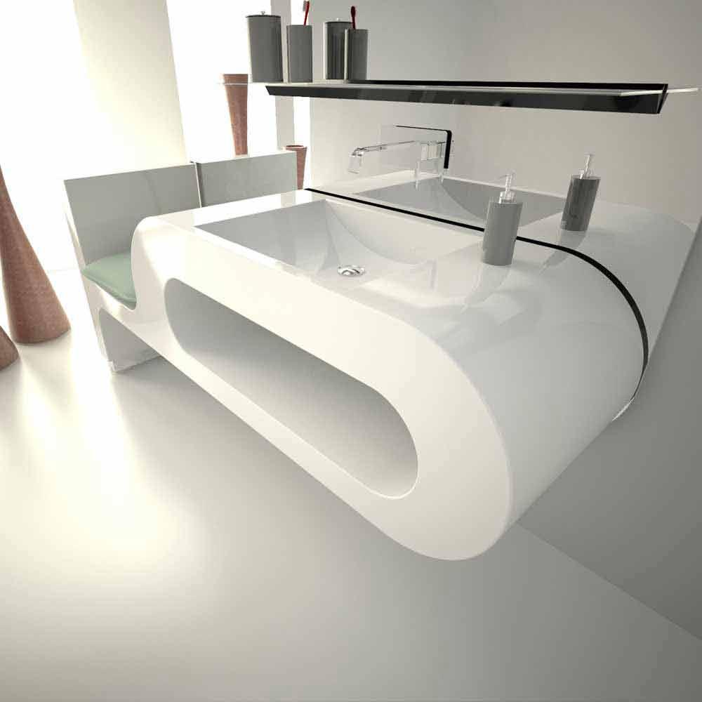 Lavabo dal design moderno bianco nero o bordeaux garfish for Lavandino design