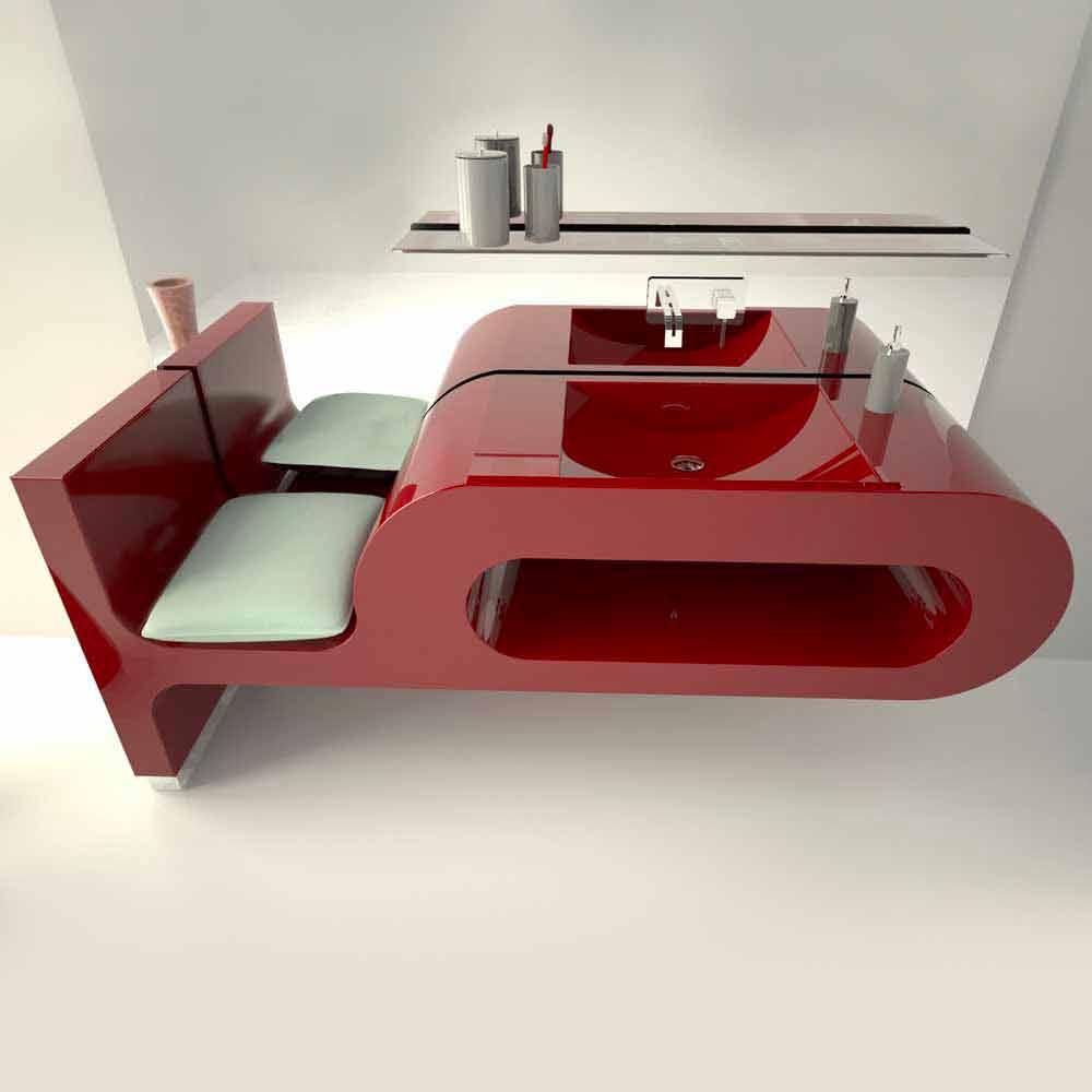 Lavabo dal design moderno bianco nero o bordeaux garfish - Lavandino bagno moderno ...
