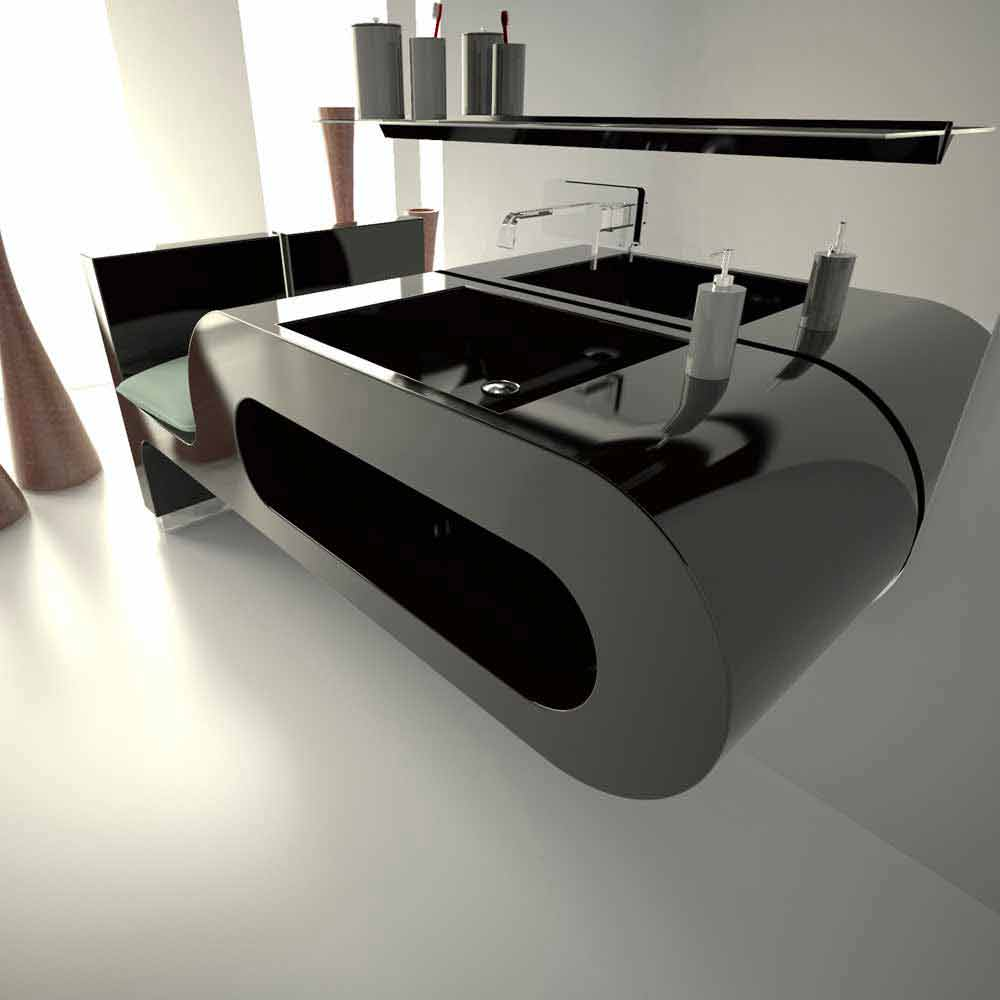 Lavabo dal design moderno bianco nero o bordeaux garfish - Lavandino bagno nero ...