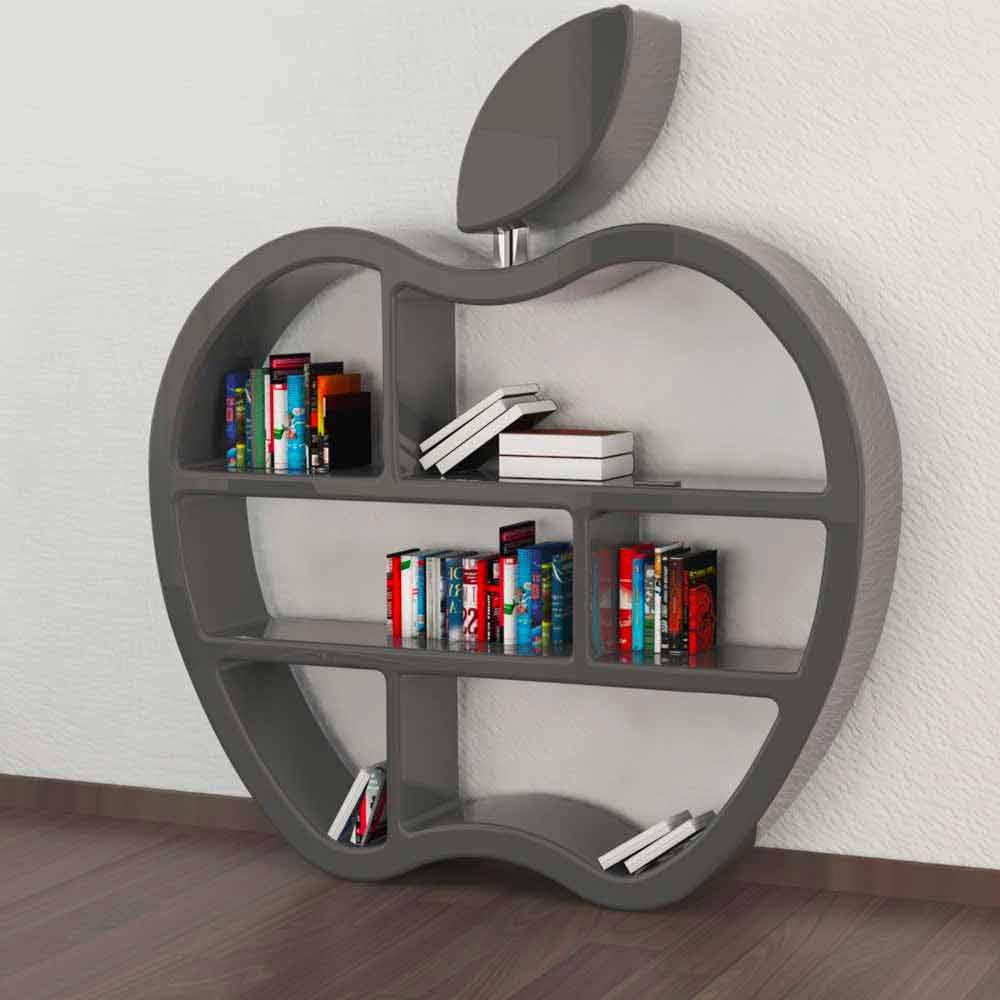 Libreria design moderno rossa bianca o grigia gluttony for Libreria design