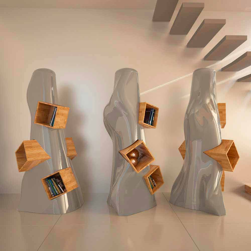 Libreria design moderno in legno e adamantx k2 made in italy for Libreria design