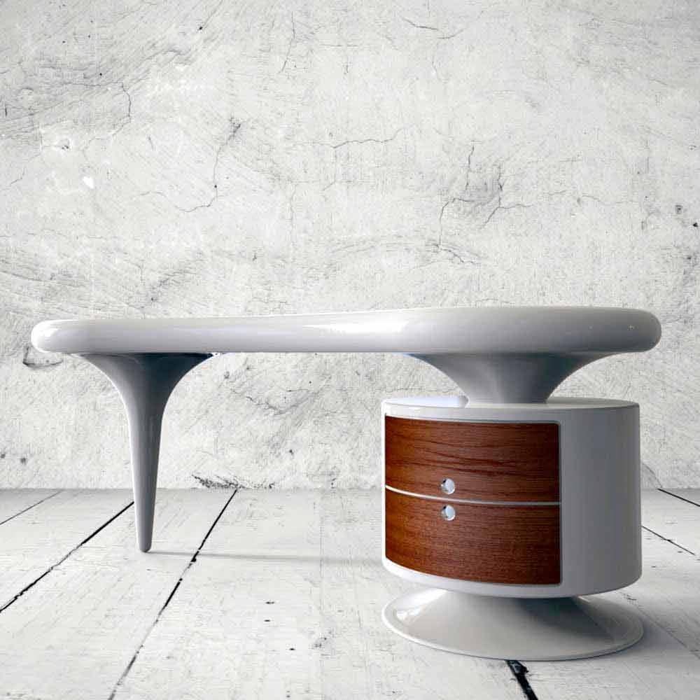 Scrivania moderna da ufficio bianca rossa o nera bean for Scrivania design
