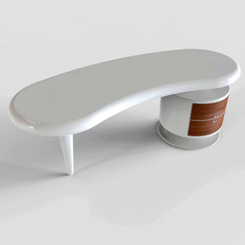 Scrivania moderna da ufficio bianca rossa o nera bean for Accessori scrivania design