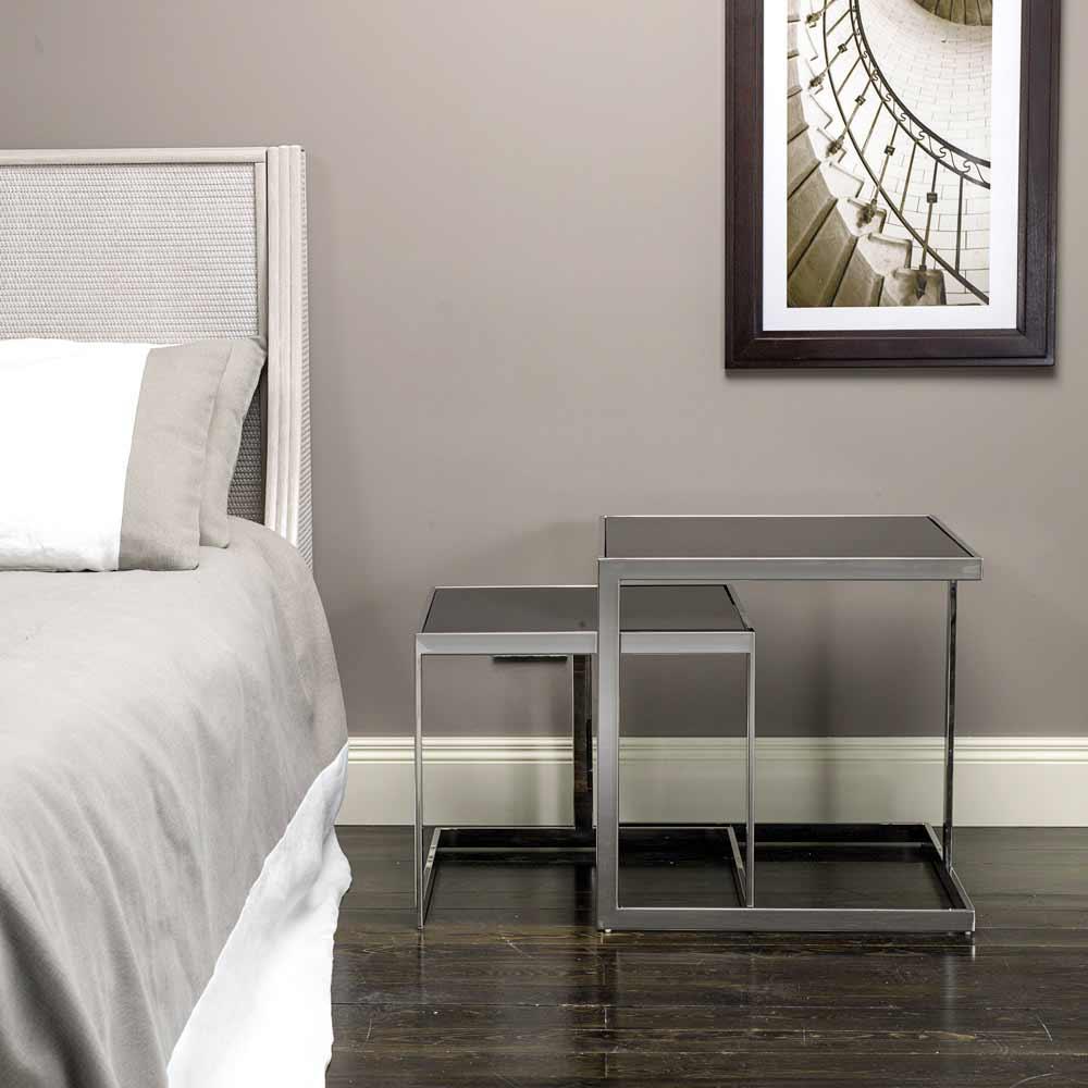 2 tavolini design moderno in acciaio con piano in vetro bubbi for Tavolini design