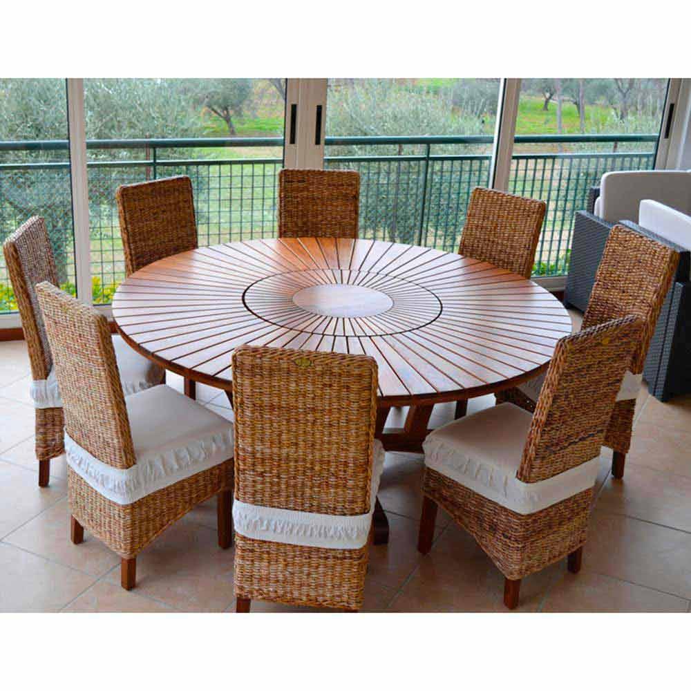 Tavolo tondo in teak e massello da esterno Real Table