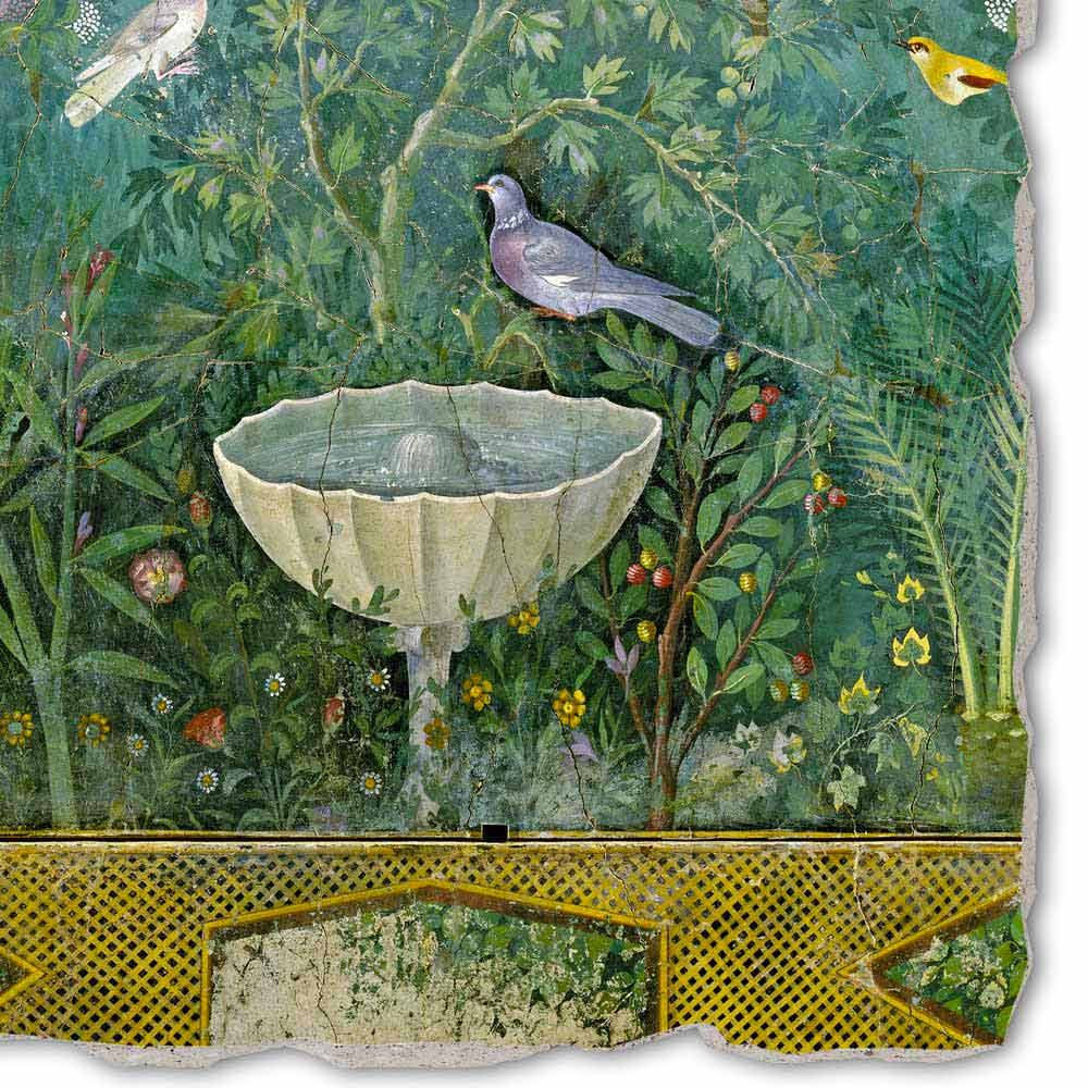 Affresco grande arte romana giardino con erme e fontana - Arte e giardino ...