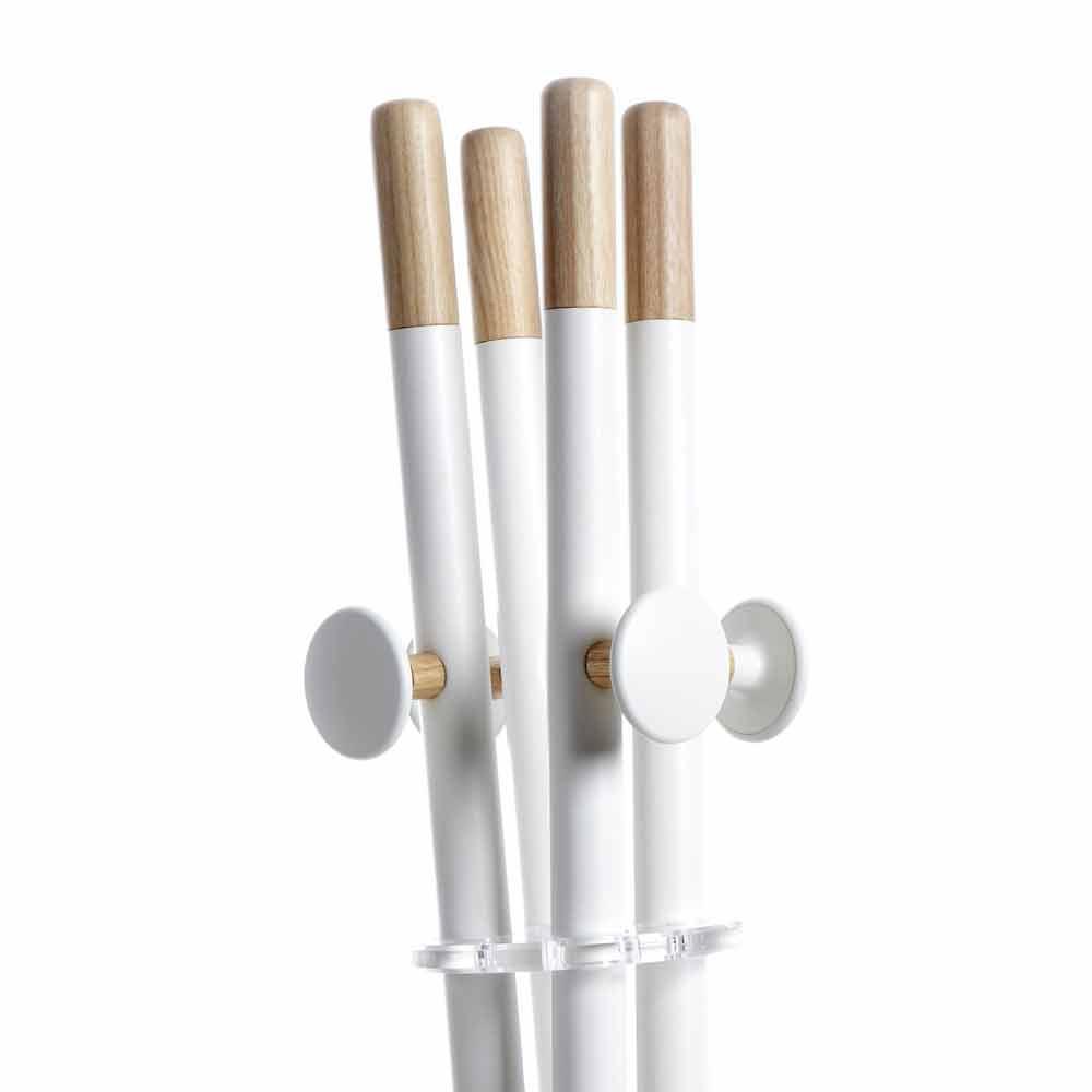 Appendiabiti di design moderno, bianco e legno naturale Alix