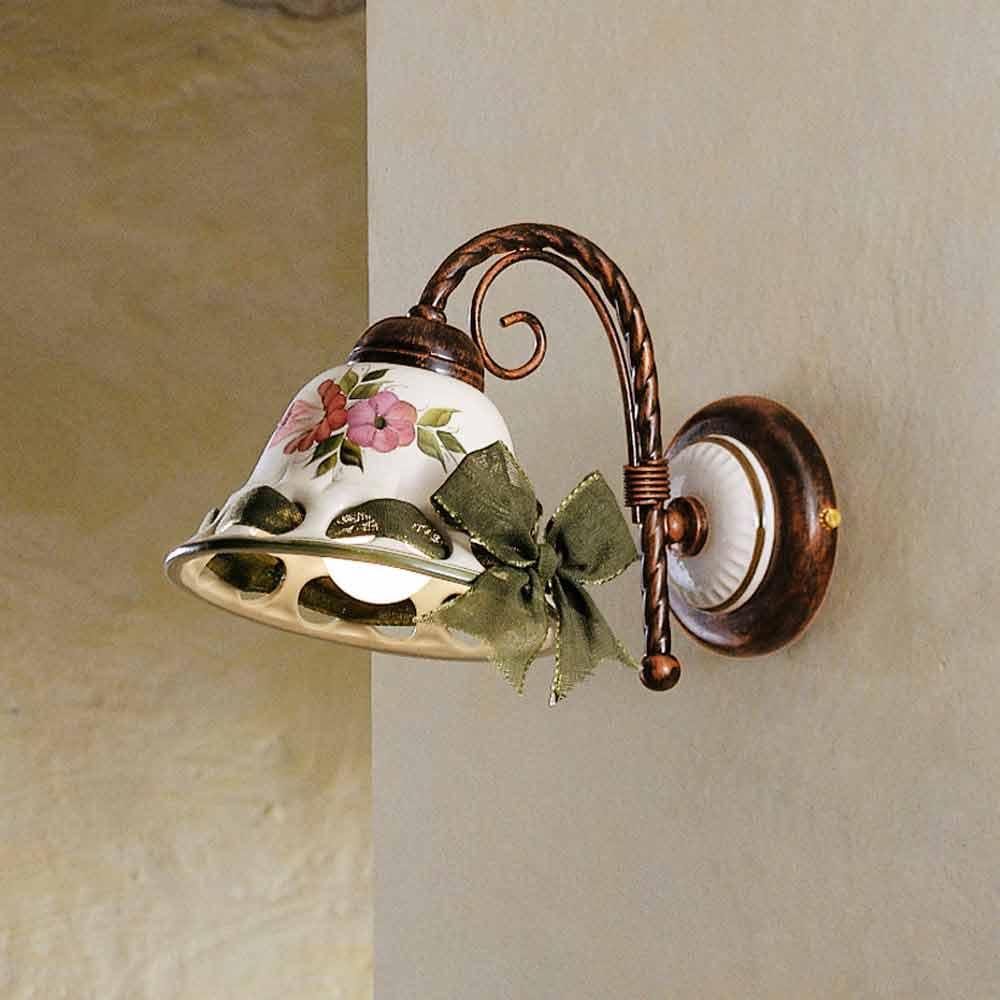 Applique a parete in ceramica decorata rustica Ferroluce Napoli