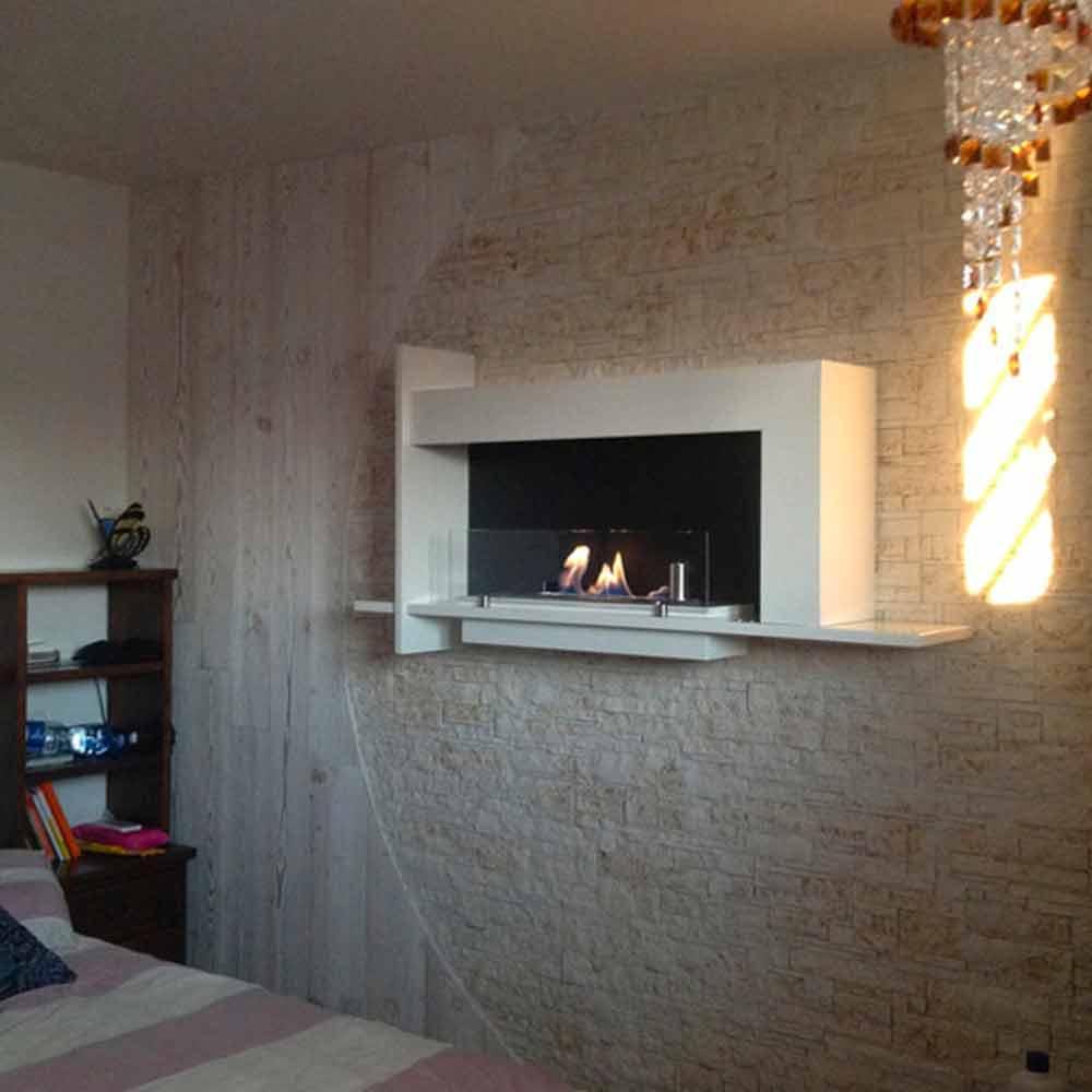 Biocamino da muro moderno design made in italy baudelaire