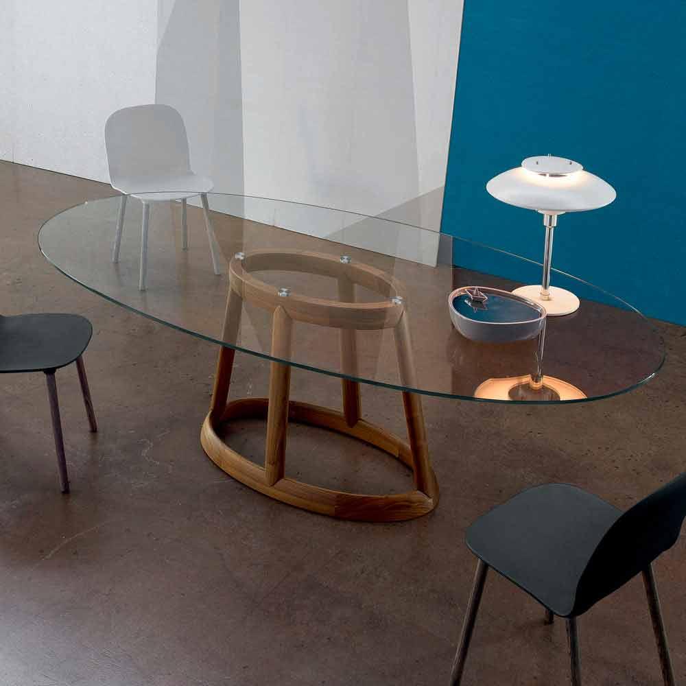 Bonaldo greeny tavolo ovale di design cristallo e legno for Tavolo ovale cristallo allungabile