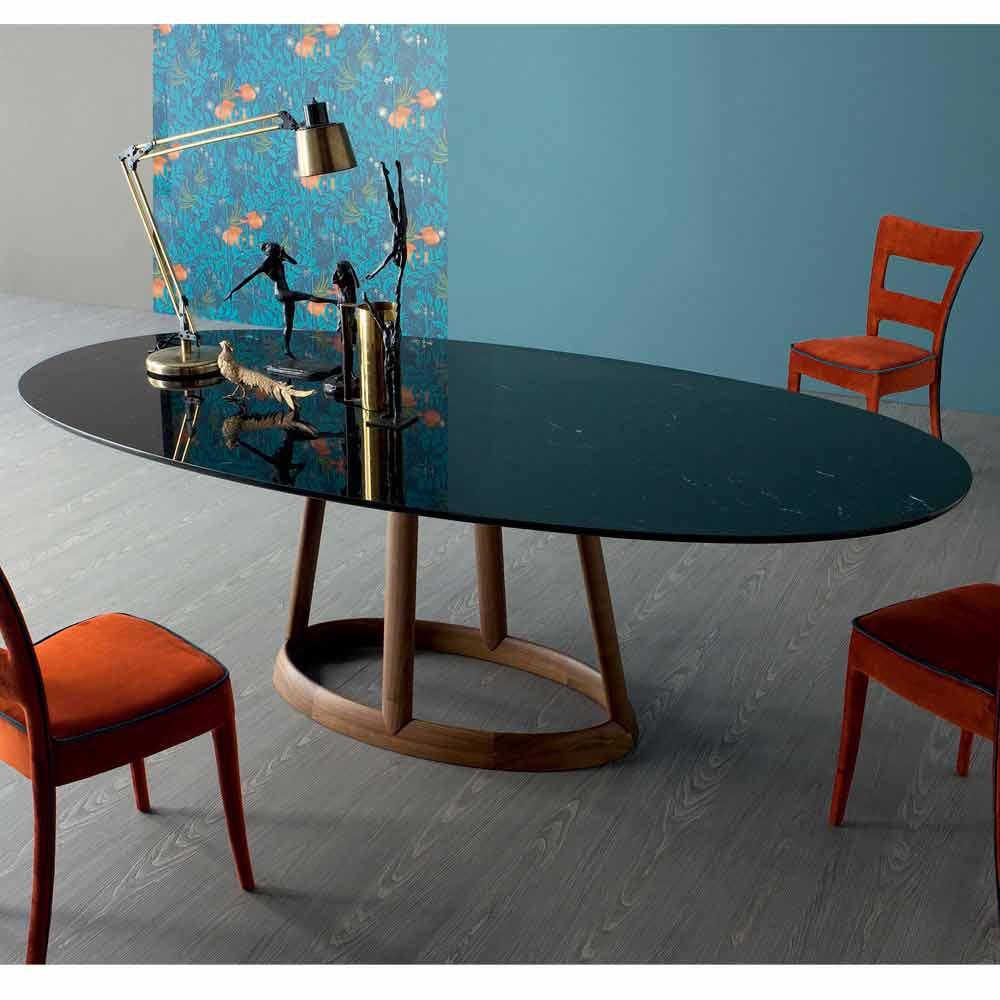 Bonaldo greeny tavolo ovale di design in marmo marquinia for Tavoli di design in marmo