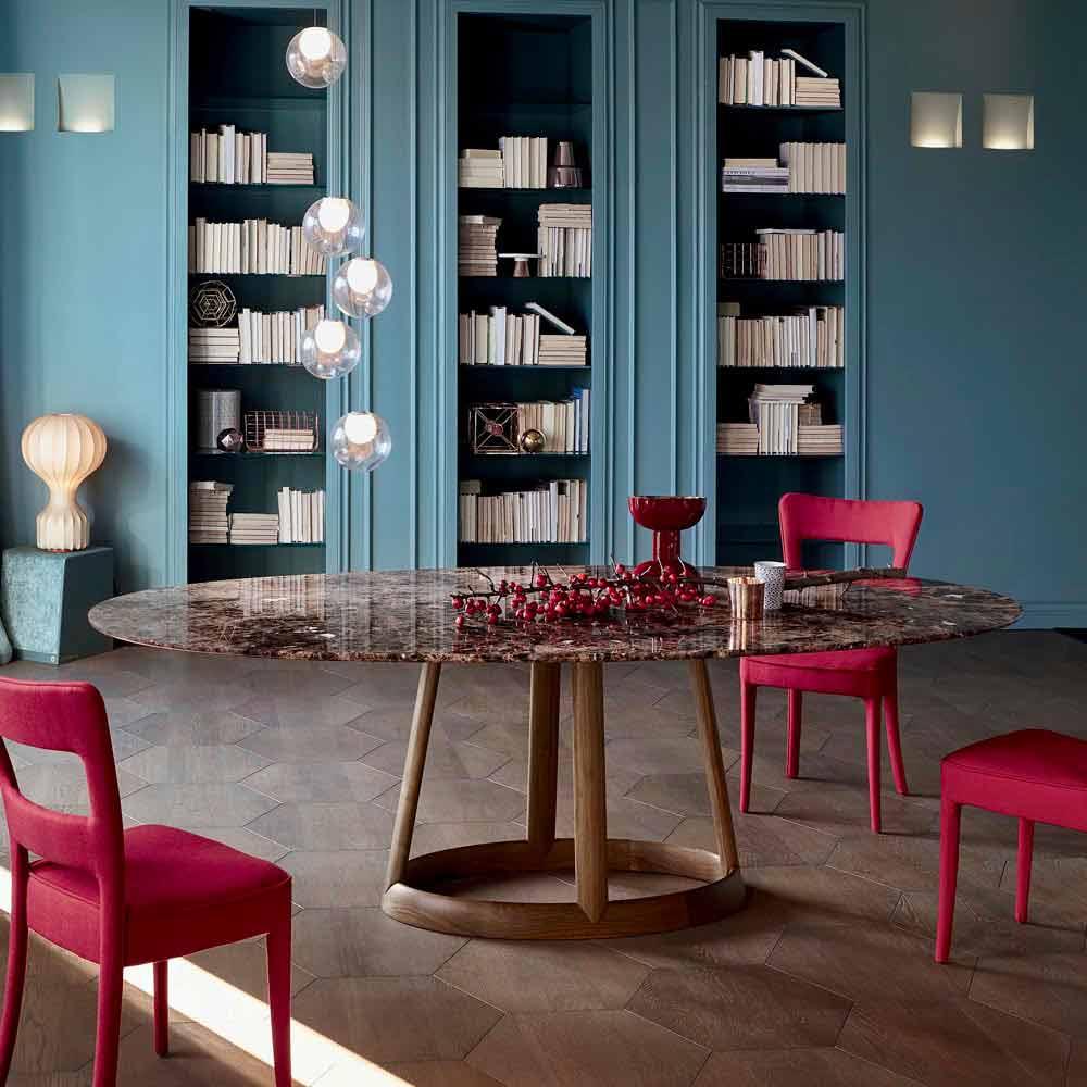 Bonaldo greeny tavolo tondo design piano marmo emperador for Tavolo tondo design