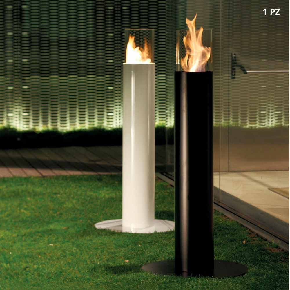 Caminetto a bioetanolo da esterno a pavimento in acciaio verniciato dean - Caminetto per esterno ...