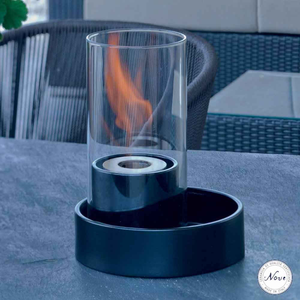 Caminetto a bioetanolo da tavolo in ceramica e vetro Jim, made in ...