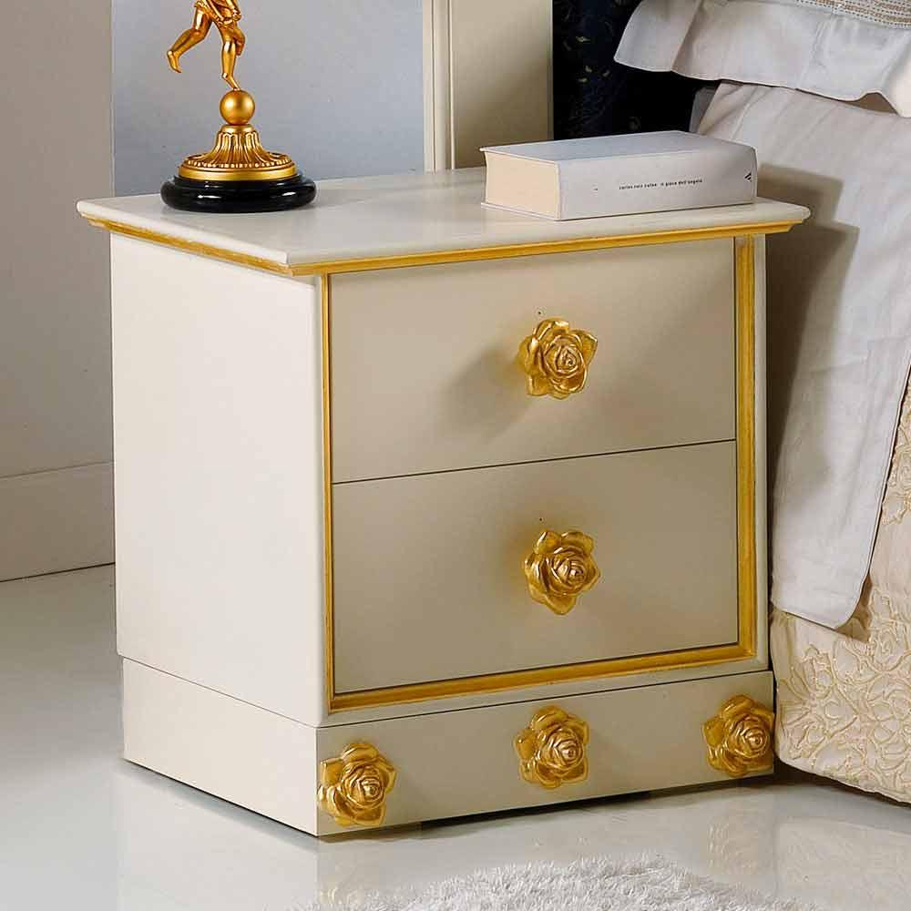 Comodino 2 cassetti in legno con pomelli a forma di rose Renoir