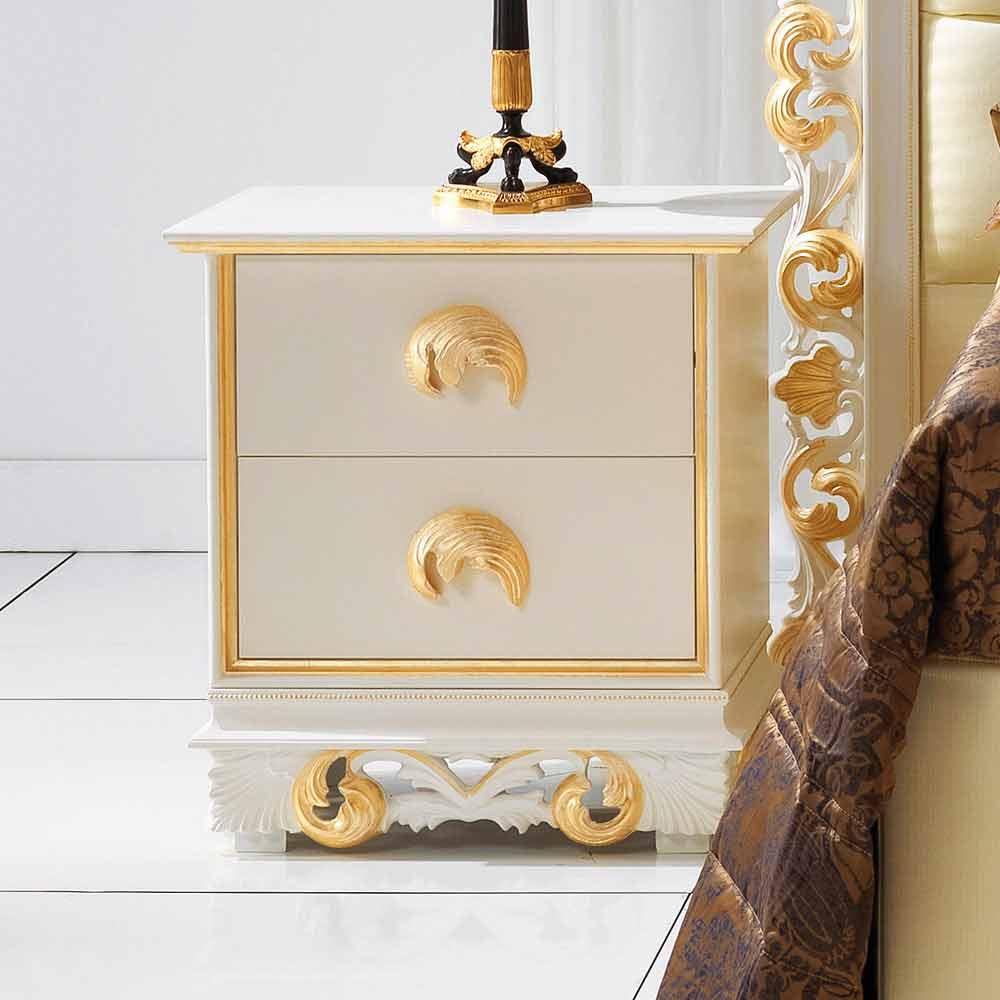 Comodino di design in legno con 2 cassetti Zucchi, made in Italy