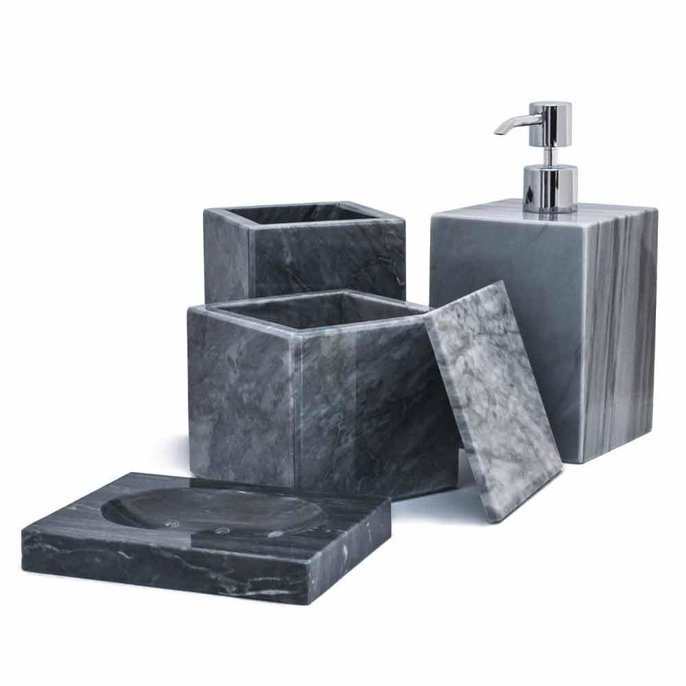 Accessori Bagno In Marmo.Composizione Di 4 Accessori Da Bagno In Marmo Made In Italy