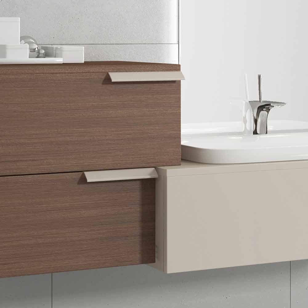 Composizione mobili bagno sospesa di design legno laccato for Mobili di bagno
