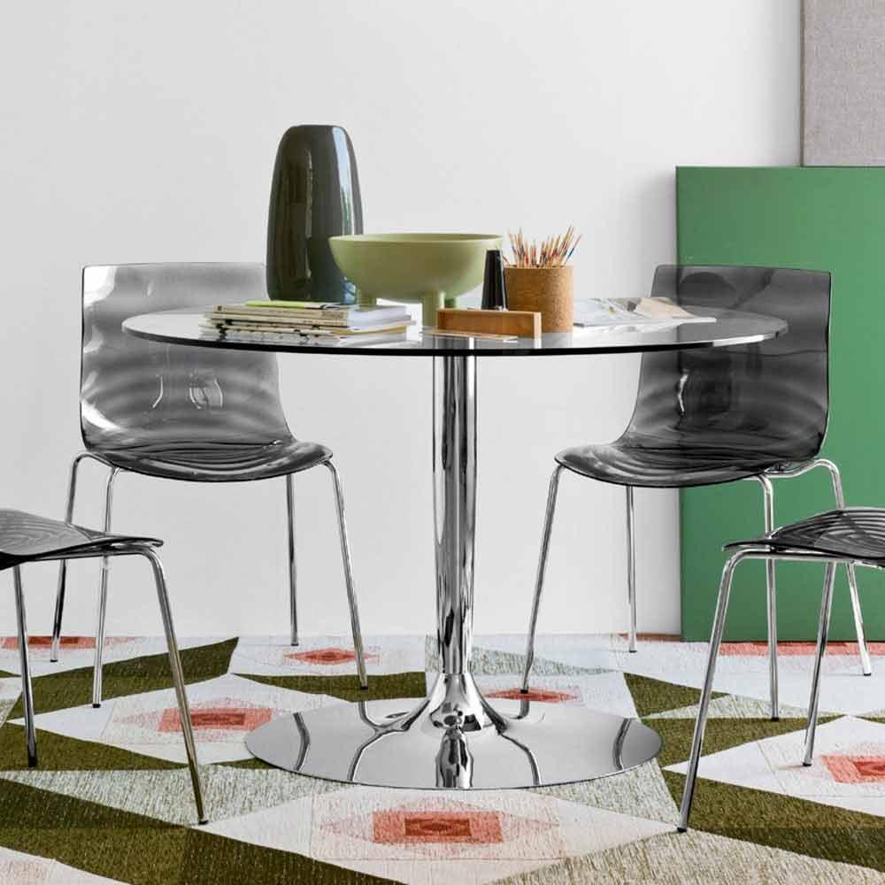 Connubia Calligaris Planet tavolo tondo moderno diametro 120 cm, vetro