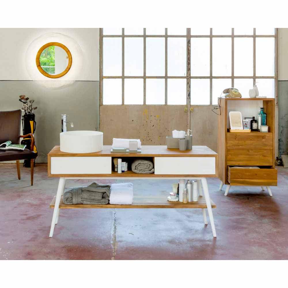 Consolle per bagno da appoggio in teak naturale cerato a for Consolle moderne di design