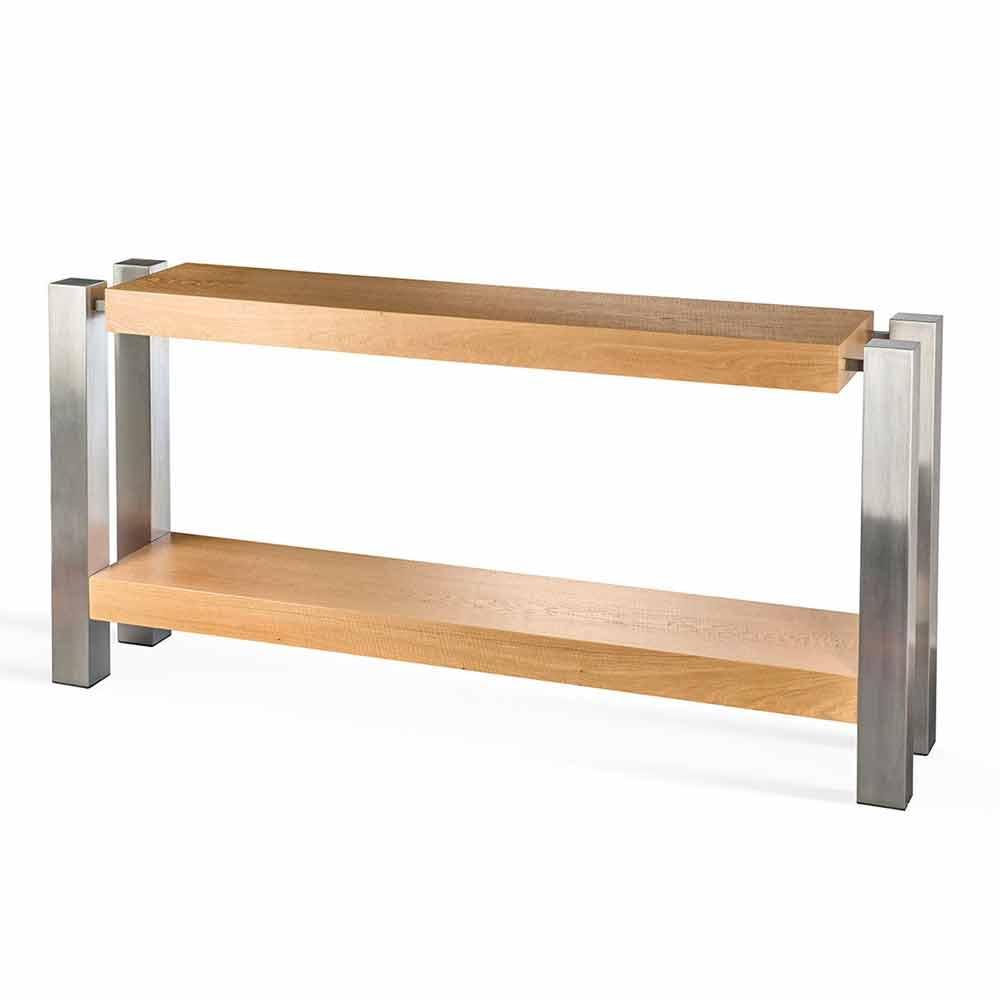 Consolle di design rettangolare doppio ripiano in legno di for Consolle di design