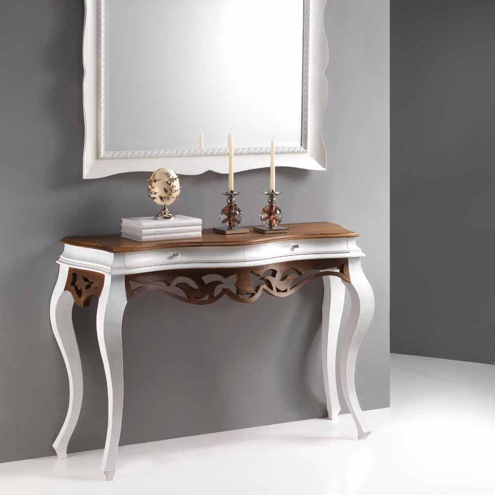 Consolle in legno stile classico finitura bianco antico e for Consolle legno