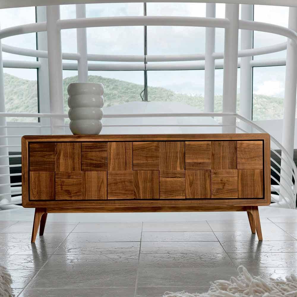 Credenze Moderne In Legno.Credenza Con 3 Ante In Legno Di Noce Massello Design Moderno Nensi