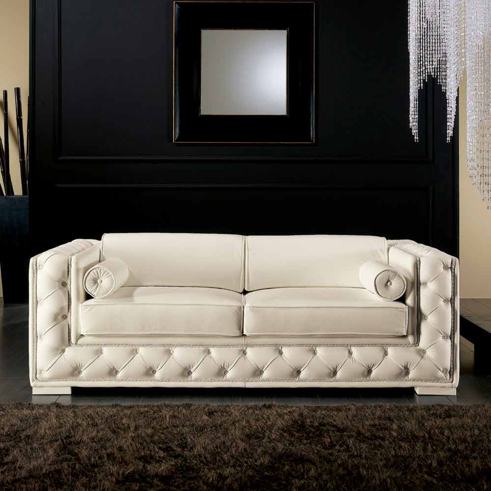 divano a due posti in pelle bianca stile classico prestige. Black Bedroom Furniture Sets. Home Design Ideas
