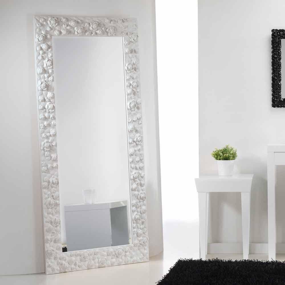 Grande specchiera bianca da terra muro con cornice in - Specchio cornice bianca ...