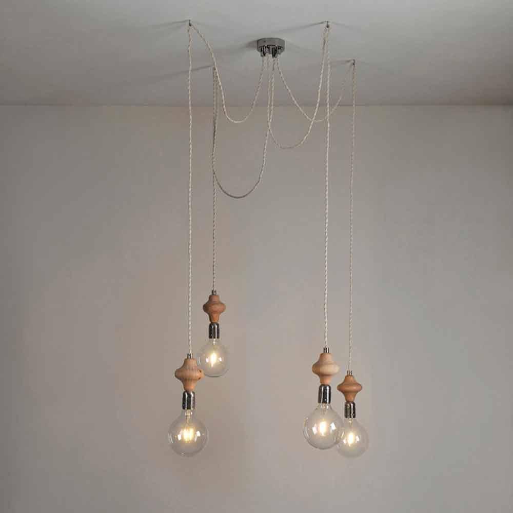 Lampadario in ferro e legno for Lampade a sospensione