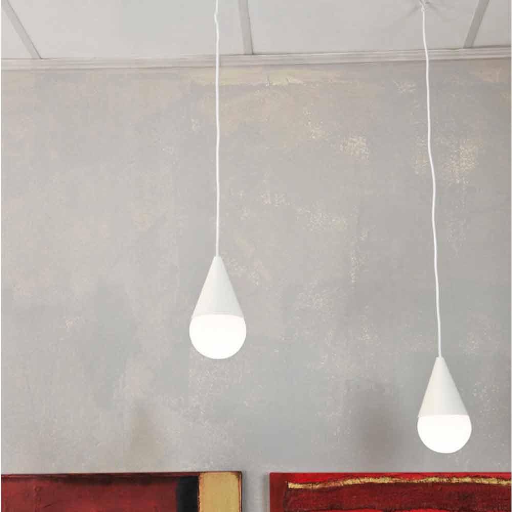 Lampada a sospensione bianca a 2 luci Drop, design moderno