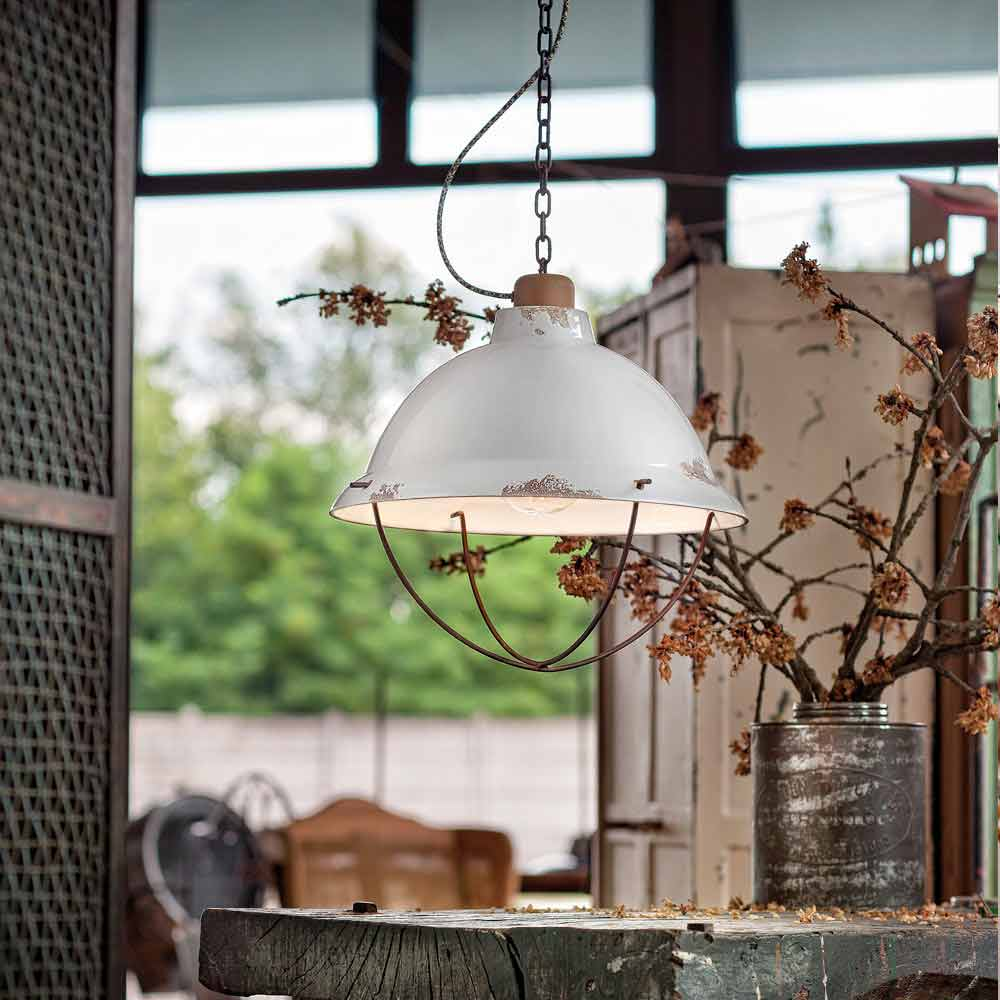 Lampada a sospensione di design industriale artigianale clara - Lampada sospensione design ...