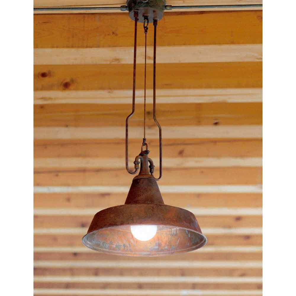 lampada a sospensione in rame e ottone fonderia di aldo