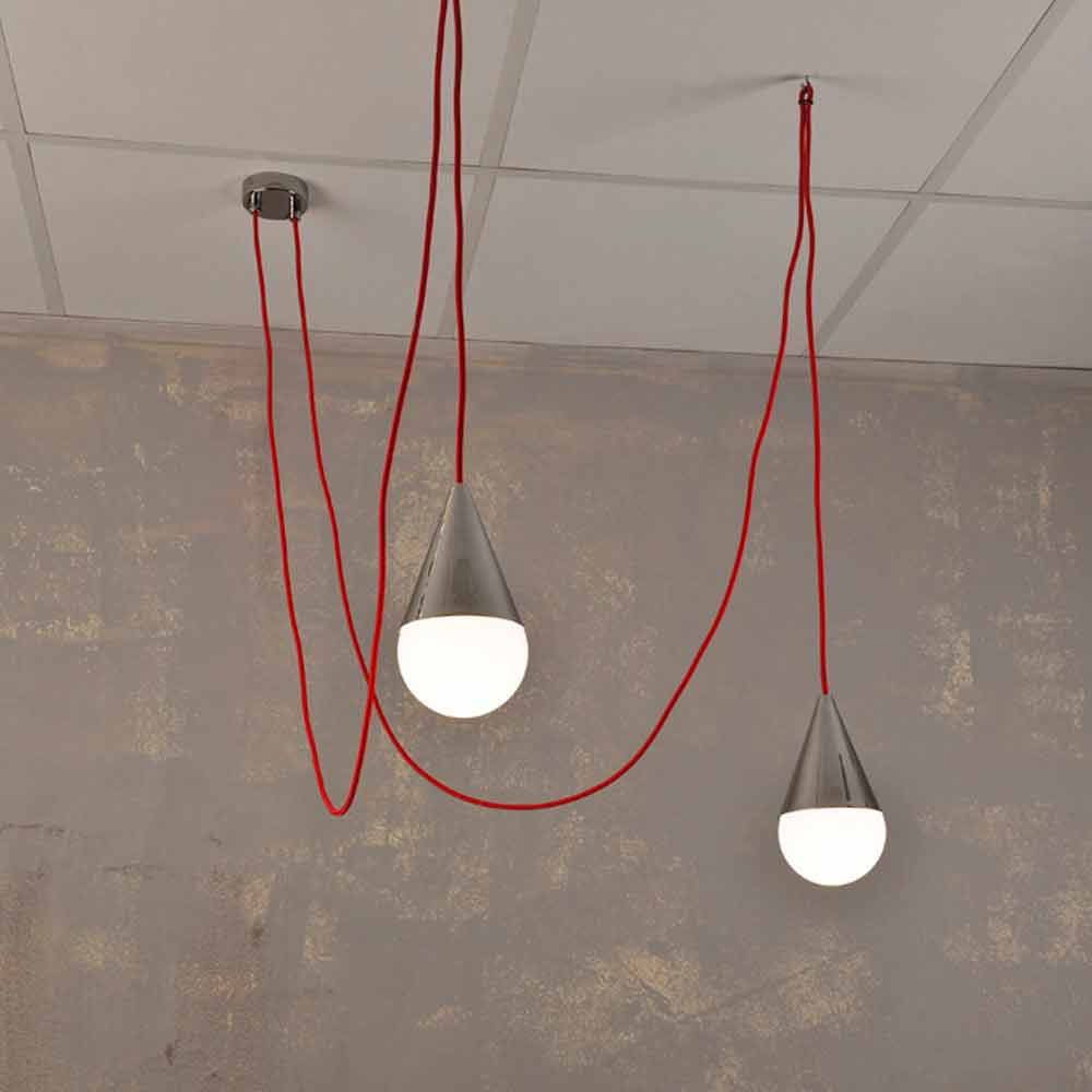 Lampada a sospensione moderna a 2 luci con cavo rosso Chrome