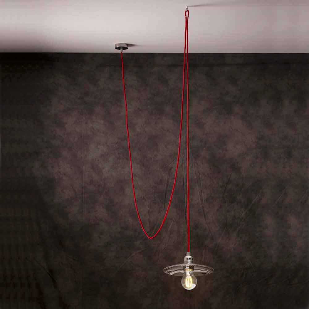 Lampada a sospensione moderna con cavo in seta rosso chrome - Cavo con lampadine da esterno ...