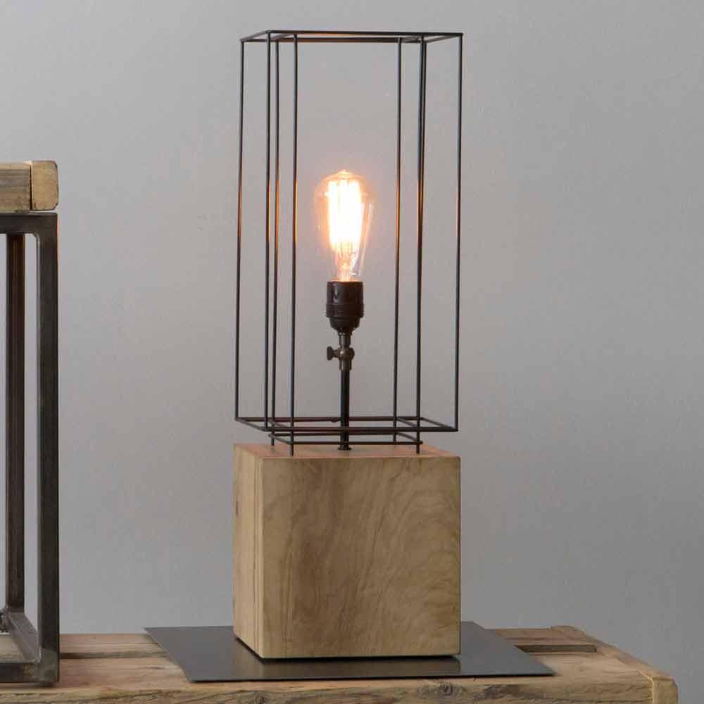 Lampada Di Design Con Basamento In Legno Di Ulivo Made In Italy
