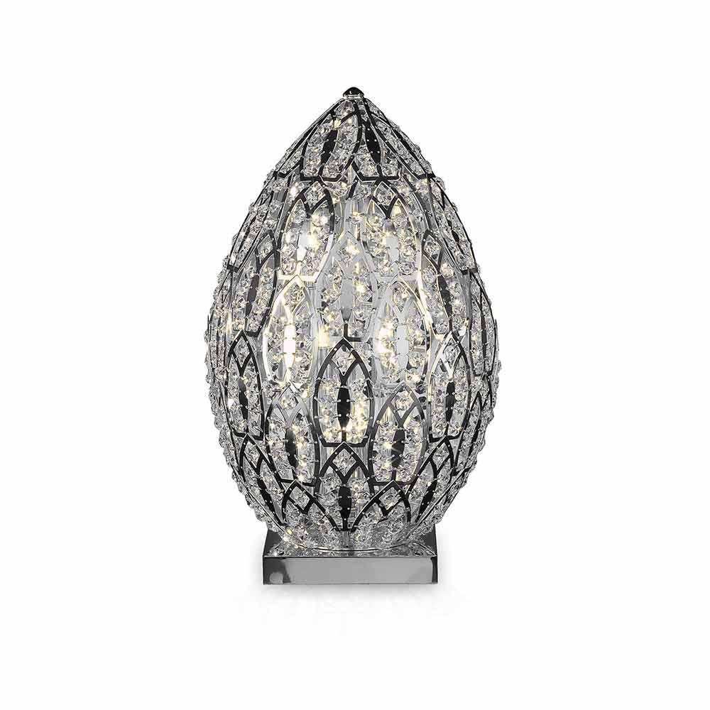 Lampada da tavolo design in cristallo e acciaio forma di for Lampada da tavolo di design