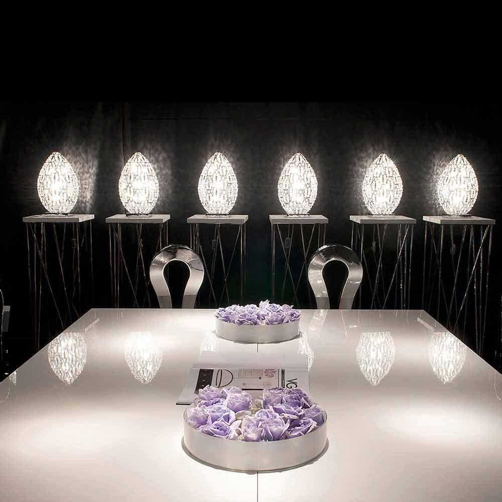 Lampada da tavolo design in cristallo e acciaio forma di for Tavolo acciaio design
