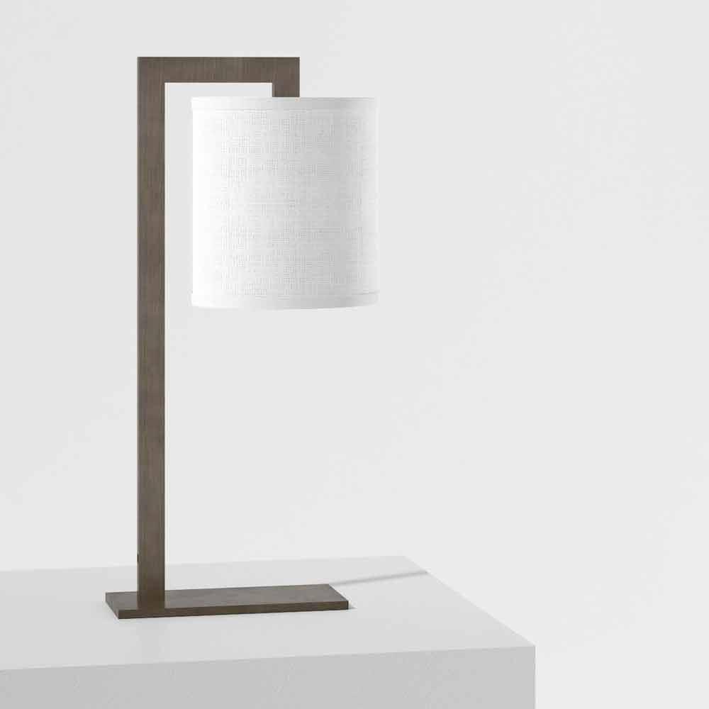 Lampada Moderna Con Struttura In Metallo E Lino Made In Italy